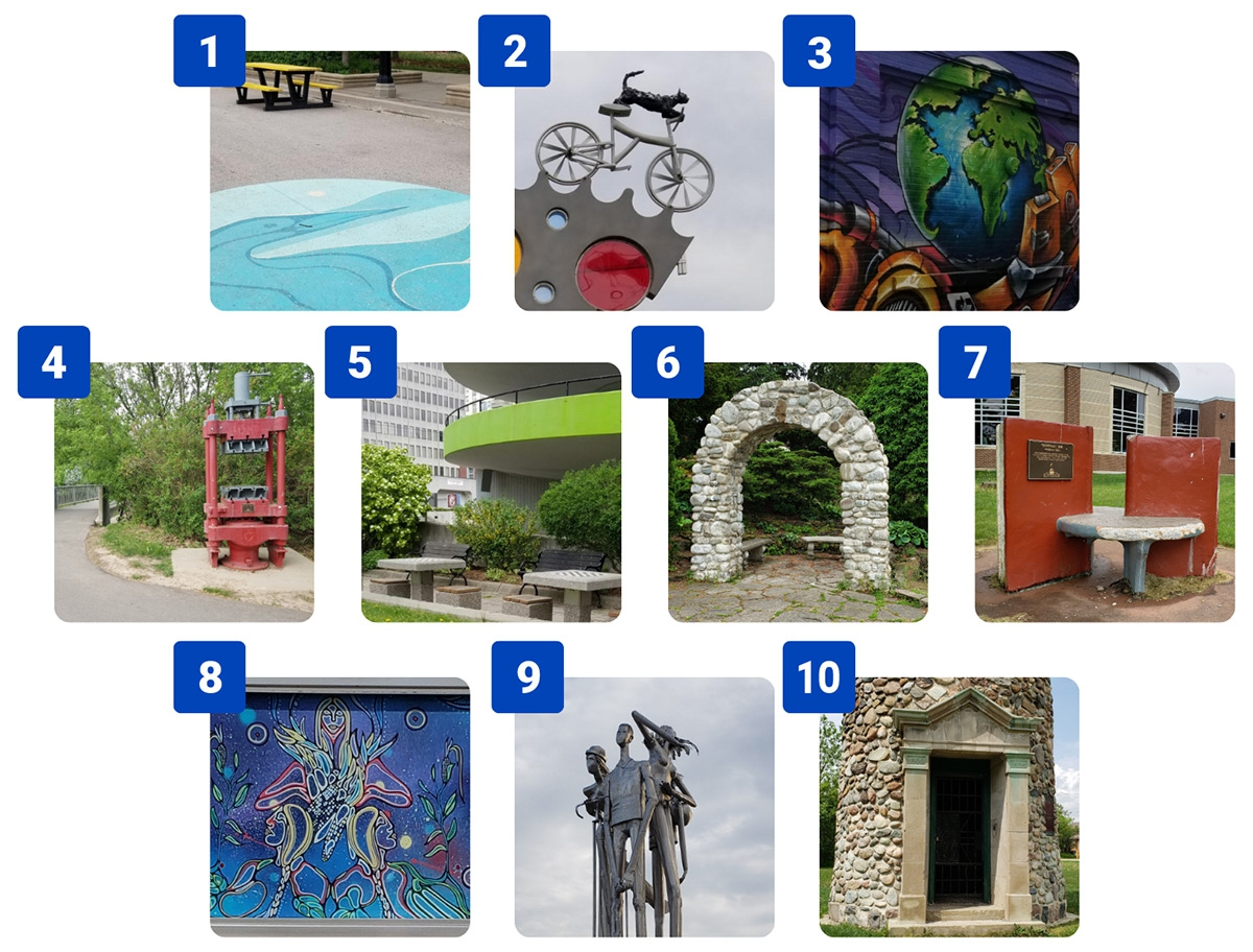 Ten numbered images showing locations in Kitchener, Ontario. 1. A blue image of a bird painted on pavement, with a yellow picnic table in the background. 2. A sculpture with a cat riding a bicycle. 3. A wall mural with a purple background and an orange ro